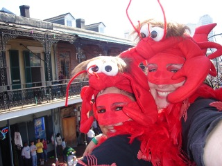Crawfish costumes on Bourbon Street